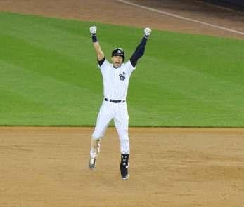 Derek Jeter celebrates his game winning, walk-off hit.  (Photo: Stefanie Gordon)