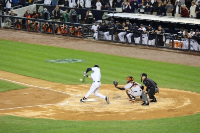 Derek Jeter hits an RBI double in the first inning  (Photo: Stefanie Gordon)
