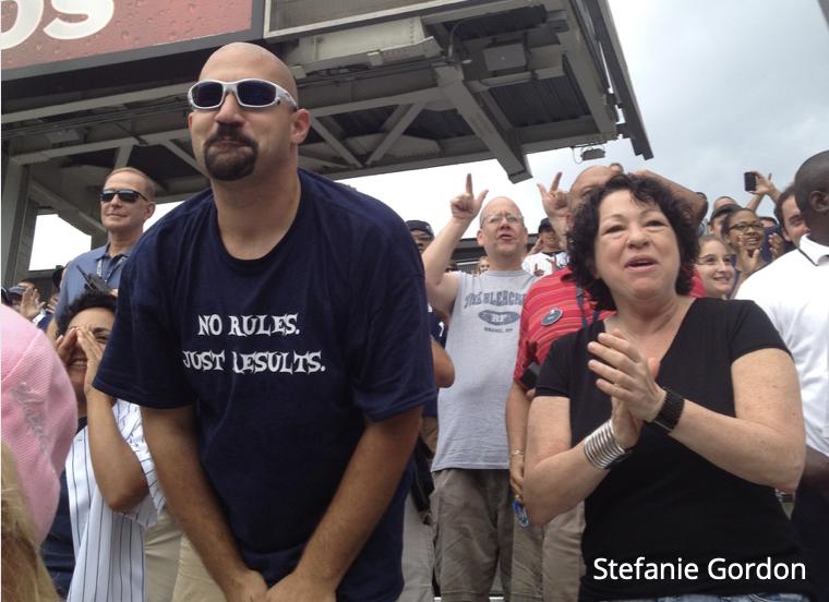 "Supreme Court Justice Sonia Sotomayor and ""Bald"" Vinny Milano. Yankee Stadium, August 2012"